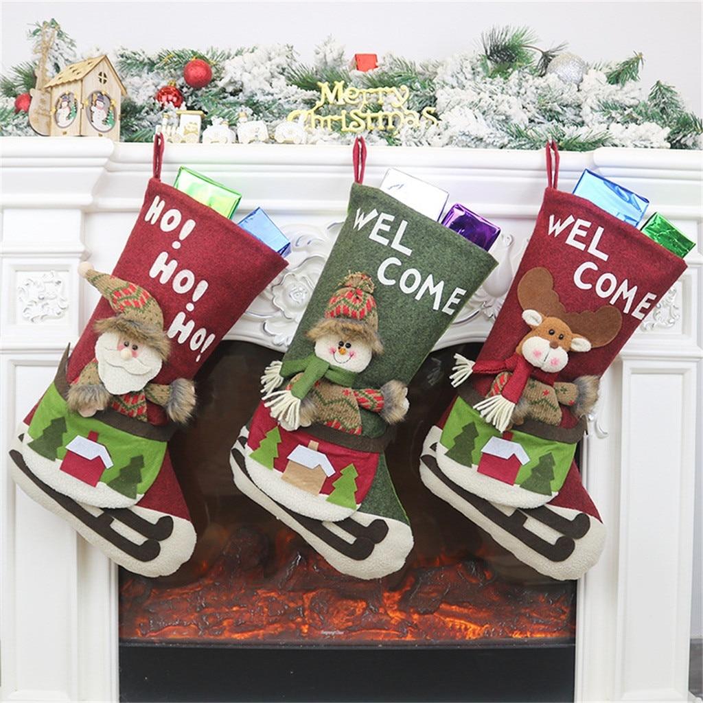 Christmas gift Christmas Stocking Mini Sock Santa Claus Candy Gift Bag Xmas Tree Hanging Decor christmas stockings navidad