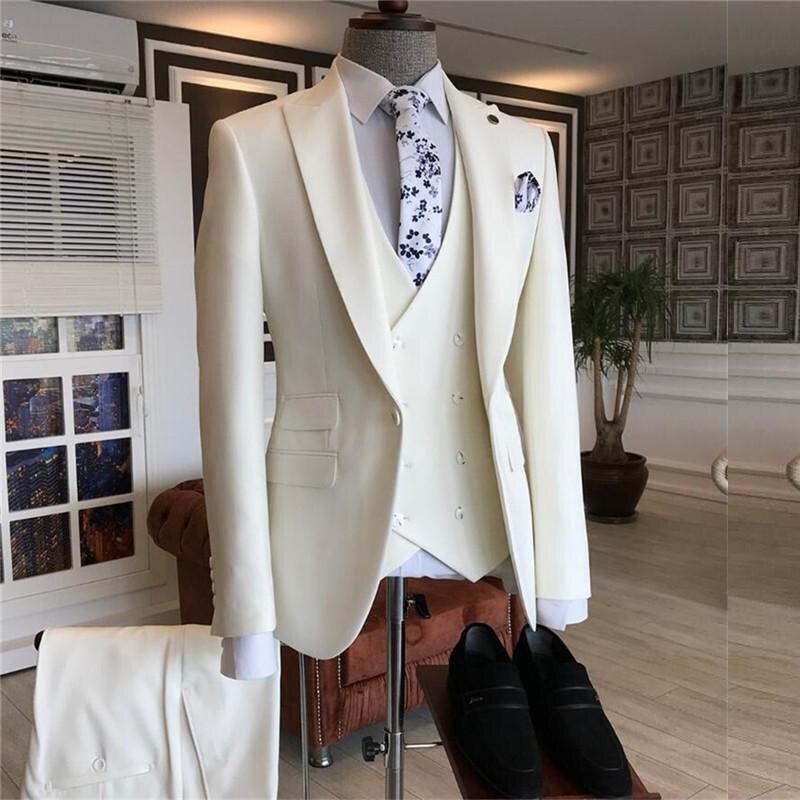 بدلة رسمية للرجال من Traje Hombre موضة 2021 بقصة ضيقة متوفرة باللون العاجي مع صدرية مزدوجة الصدر ، بدلة رسمية للرجال ، بدلة رسمية لحفلات الزفاف