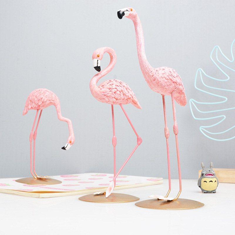 3 estilos de adornos de resina de flamenco rosa, Decoración de mesa de Flamenco de estilo nórdico, decoración para el jardín y el hogar