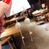 round pearl pendant long tassel womens earrings vintage fashion stud earrings fashion simple trend women jewelry