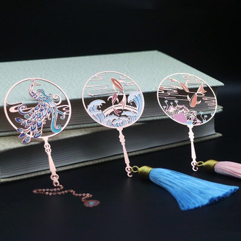 1pc metal peafowl marcador bonito gato koi peixe bronze borla retro livro marca para professores presente estudante artigos de papelaria material escolar