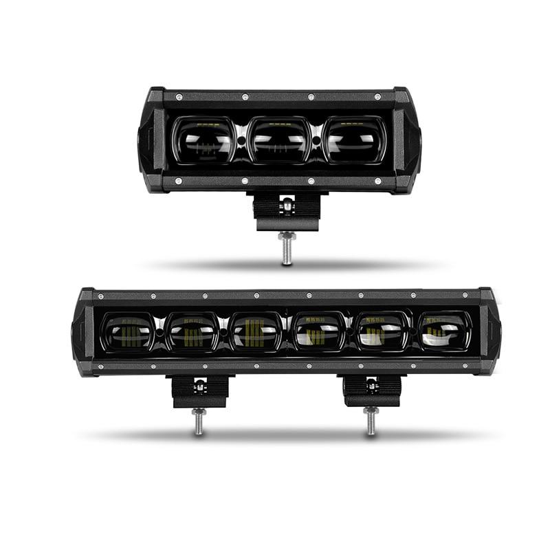 DERI 6D obiektyw 30W 60W 8 14 cal pojedynczy rząd Led światła pracy 4x4 światło terenowe Led Bar dla Off road 4WD samochód ciężarowy ATV 12V 24V barra led