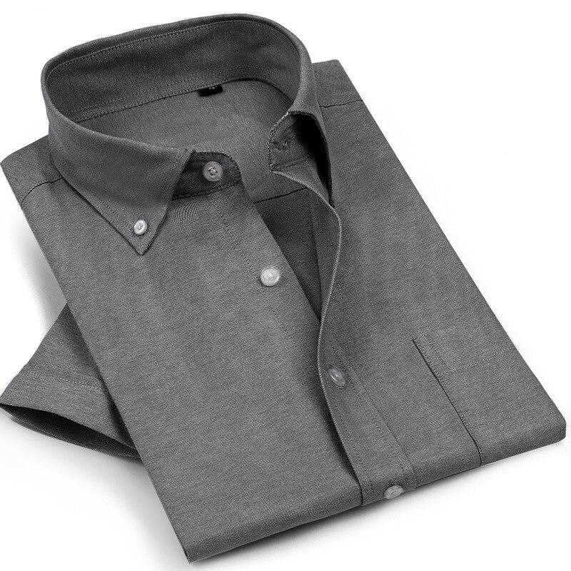 Camisa de manga corta Oxford de verano para hombre, camisa de manga corta de mediana edad en existencias