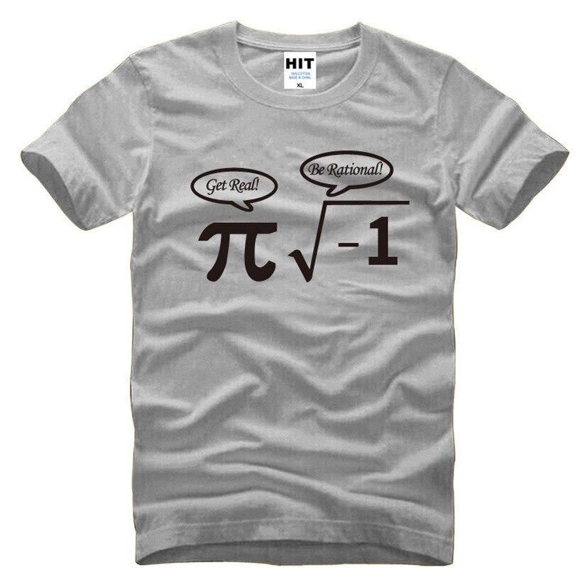 Camiseta Be Rational Get Real empollón friki Pi Nerd divertido matemáticas hombres camiseta 2016 Nueva camiseta de manga corta novedad Camiseta de algodón