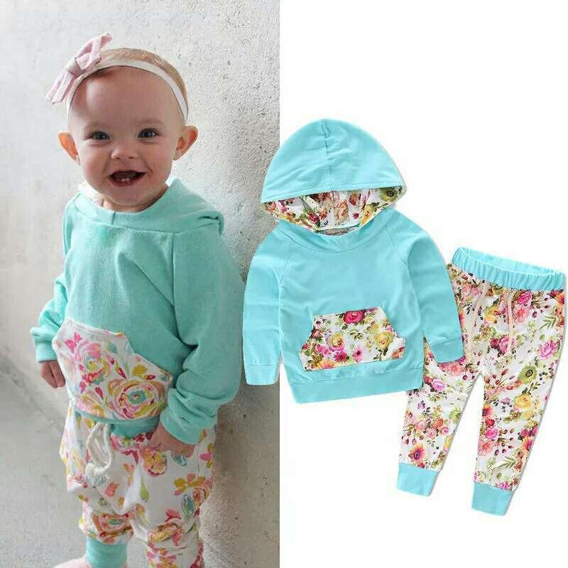 Winter 2PCS Outfits Set Baby Kleidung Neugeborenen Baby Mädchen Sport Kleidung Floral Kapuzen Sweatershirts + Hosen + Stirnband Sets