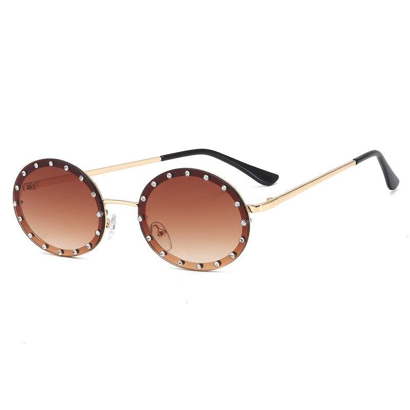 Fashion Lady oval Sunglasses Women Shiny Diamond Frame For Women Brand Glasses Designer Fashion Male Female Shades