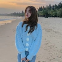 autumn winter knitted sweater cardigan women sweet flower button fashion casual korean short tops blue clothing female h217