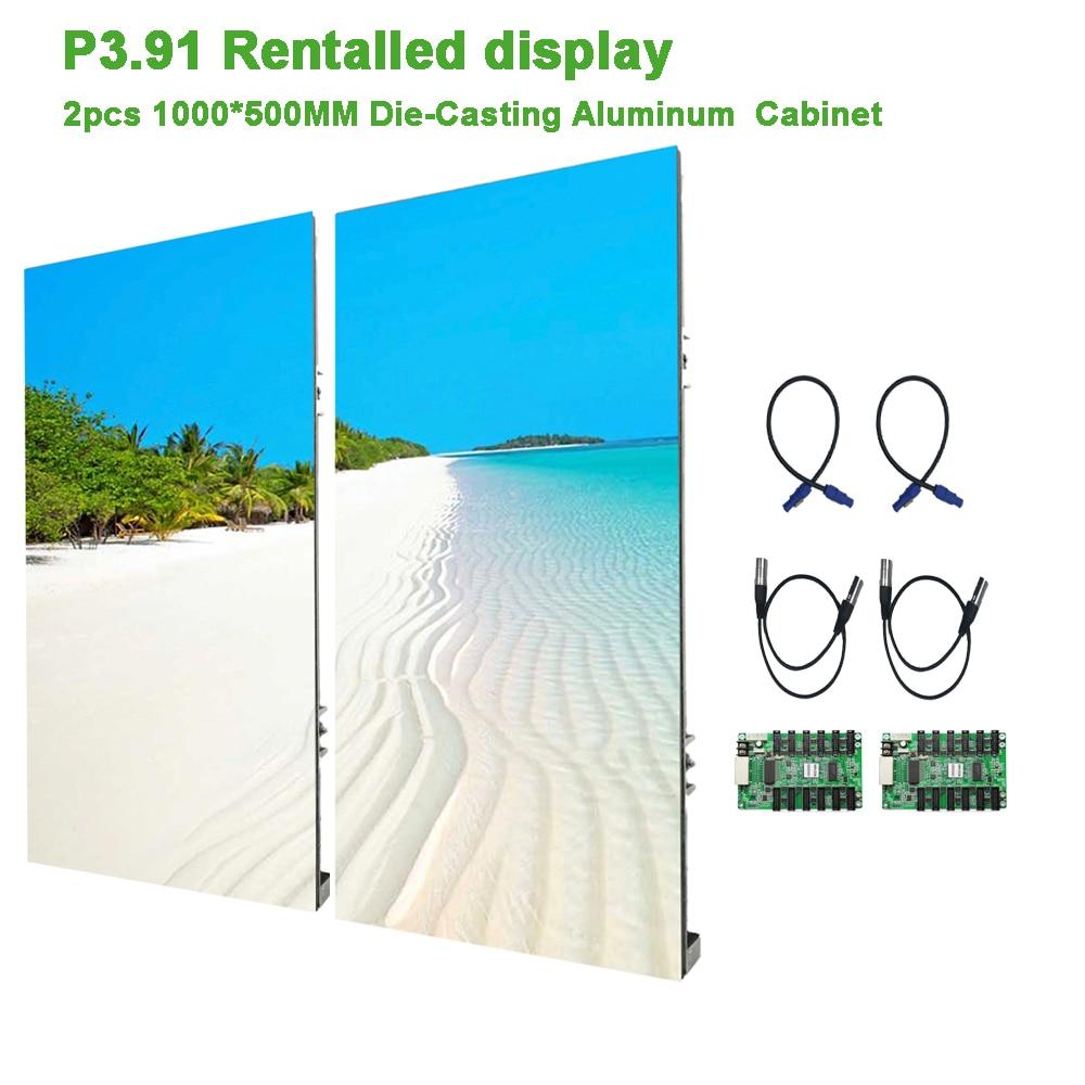 2PCS 500*1000mm Led Display Panel P3.91 Die-Casting Aluminum Cabinet Indoor Rental Led Screen  For TV  Advertising LED Pantalla