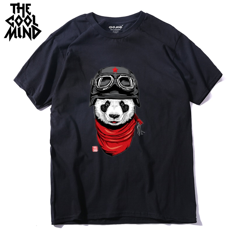 COOLMIND QI0428A 100% Camiseta de algodón de manga corta de piloto panda para hombre, camiseta casual de verano para hombre, camiseta suelta para hombre, camisetas LMYX