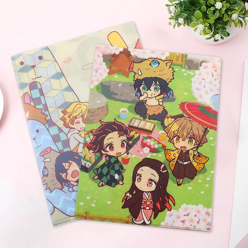 A4 Anime Demon Slayer Kimetsu No Yaiba Kamado Tanjirou Nezuko Folder File Bag Document Organizer Storage bag Stationery gift