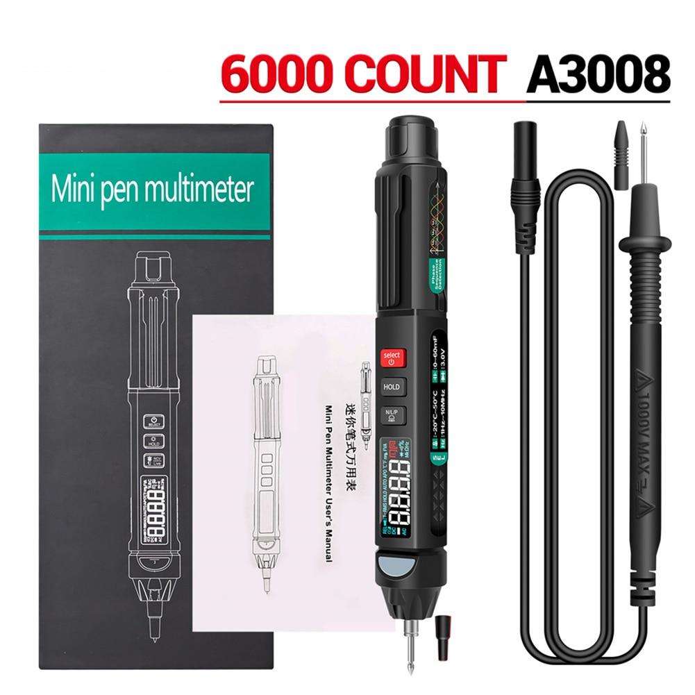 ANENG-multímetro Digital A3007/A3008, pluma con Sensor inteligente automático, polímetro de voltaje sin...