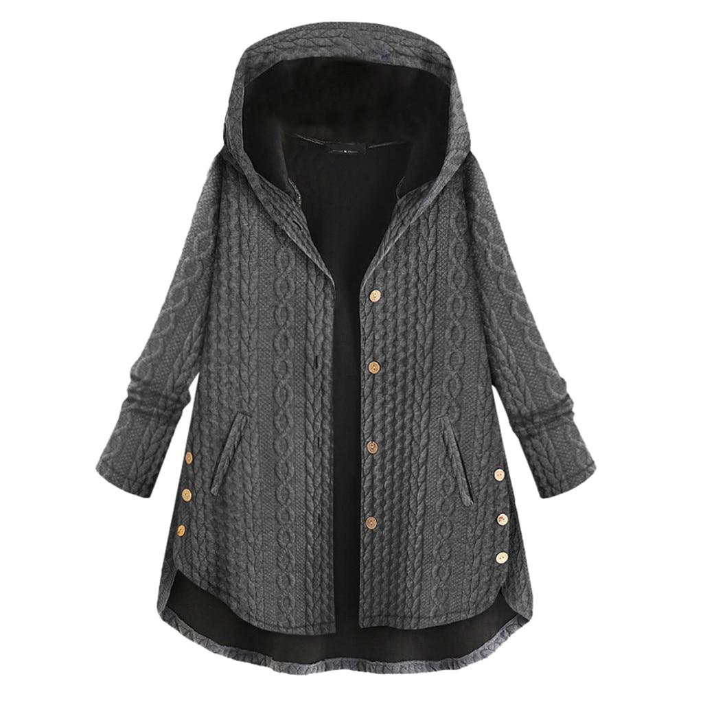 SAGACE, abrigos de Otoño Invierno para mujer, prendas de vestir cálidas informales, Color sólido, con capucha, bolsillos, botones, abrigos Vintage de gran tamaño para mujer