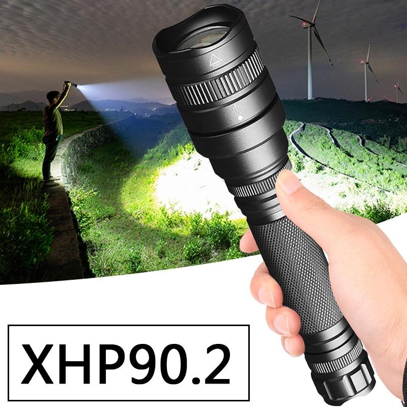 CREE XHP90.2 potente chip LED linterna táctica de la antorcha de la linterna de los bulbos de zoom XHP70 3800lm 18650 5200mAh Negro Litwod