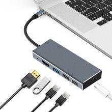 USB Type C концентратор 7 в 1 к HDMI адаптер 4 к переключатель 3.1USB TF SD кардридер слот HDMI PD адаптер удлинитель для Macbook Pro PC ноутбука