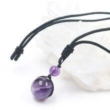 February Birthstone Retro Reiki Healing Prayer Lucky Round Ball Beaded Charm Amethysts Neckaces Natural Quartz Pendant Necklaces