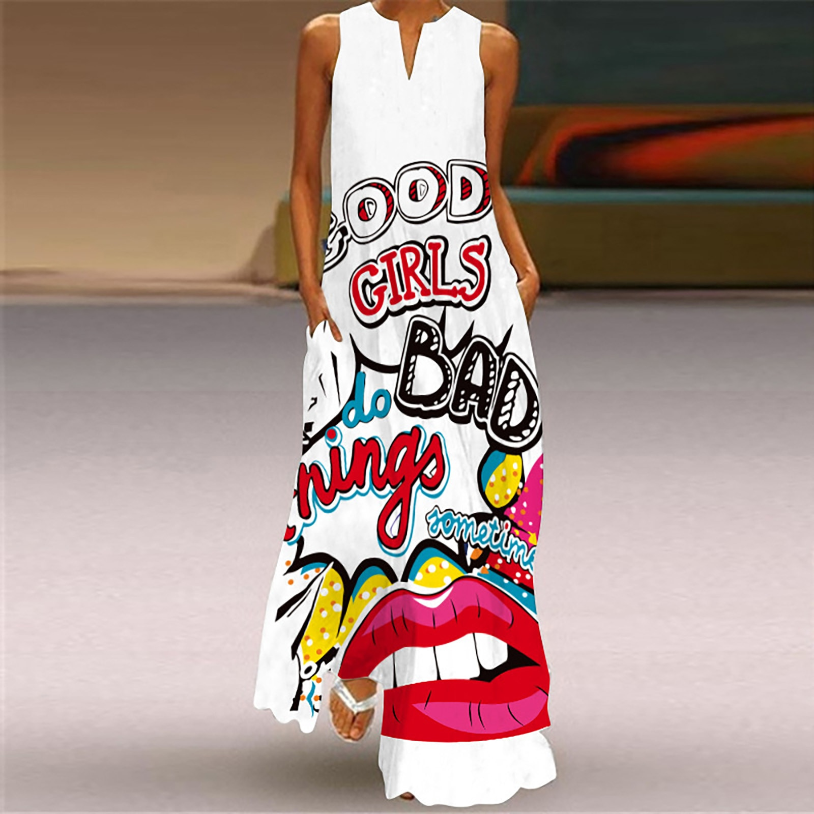 40# Floral Printed Maxi Dress Bohemia Sleeveless V-neck Split Long Dress Ruffle Vintage Robe Femme Big Swing Long Woman Dress