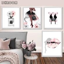Arte de pared de moda Perfume labios cartel Impresión de estilo nórdico tacones altos lienzo pintura mujer cuadros para la decoración moderna de la sala de estar