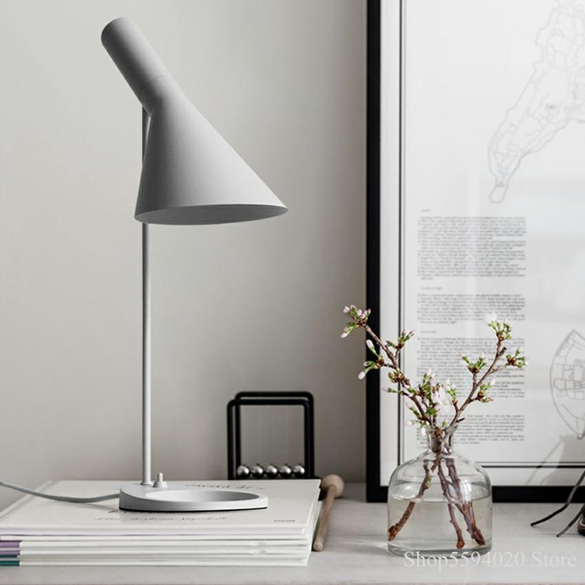 Lámparas de mesa Led negras y modernas de AJ, lámpara de escritorio de estilo nórdico, luces de lectura para cafetería, pasillo, estudio, decoración de cabecera de habitación, iluminación para el hogar AJ E27