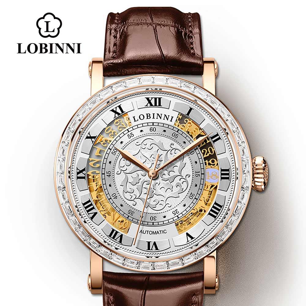 Lobinni الفاخرة العلامة التجارية الرجال الميكانيكية ساعة الرجال التلقائي الأبدي التقويم الذكور ساعة اليد ساعة جلدية النورس zegarek meski
