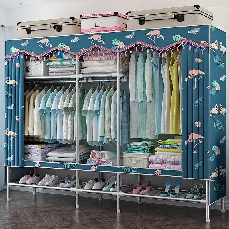 خزانة ملابس كبيرة مع أنبوب فولاذي ، مقوى سميك ، تجميع مزدوج ، بسيط ، كبير