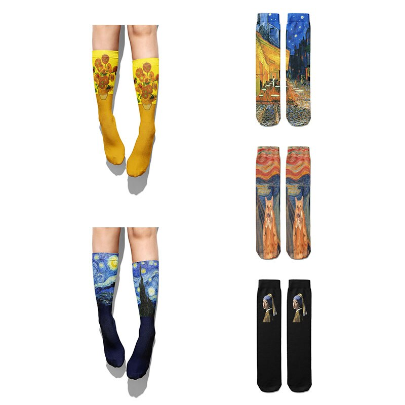 3D Van Gogh Oil Painting Socks Retro Art Women Winter Cotton Sunflower Starry Moon Night Warm Calf Socks Unisex Breathable Socks