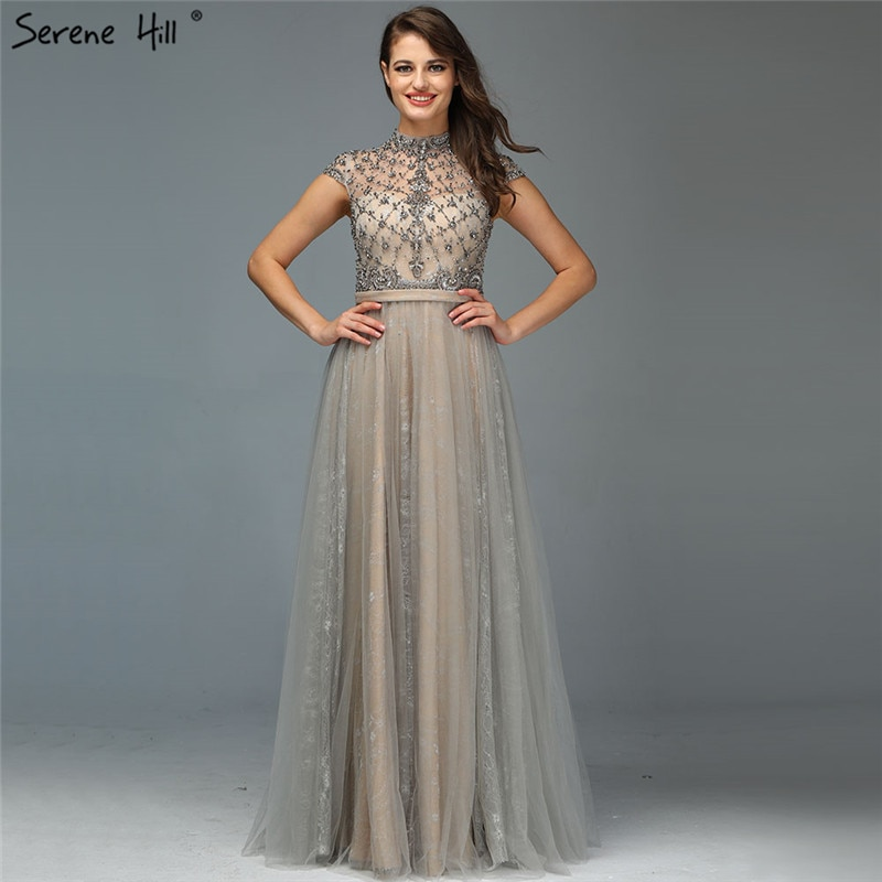 Dubai Grey High-end O-Neck Sexy Evening Dresses 2020 Sleeveless A-Line Diamond Beading Formal Dress Real Photo LA70142