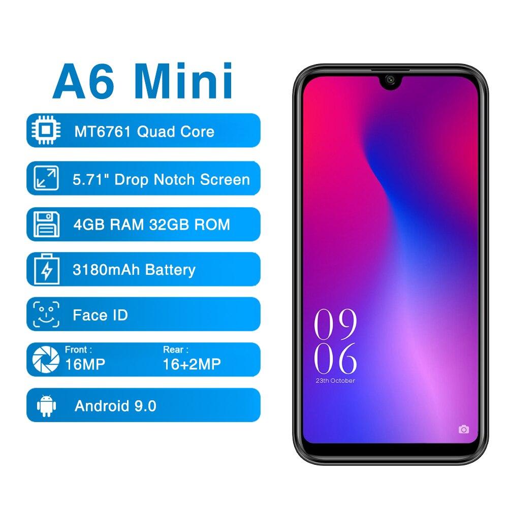 Перейти на Алиэкспресс и купить Elephone A6 мини 5,71 ''Android 9,0 в виде капли воды, Экран мобильный PhoneMT6761 4 ядра HD + 4 Гб + 32 ГБ 16MP 3180 мА/ч, 4G LTE смартфон