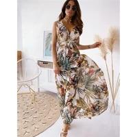 sexy vintage print sleeveless maxi dress deep v neck lace up backless summer women boho casual tank long slim femme new hot sale