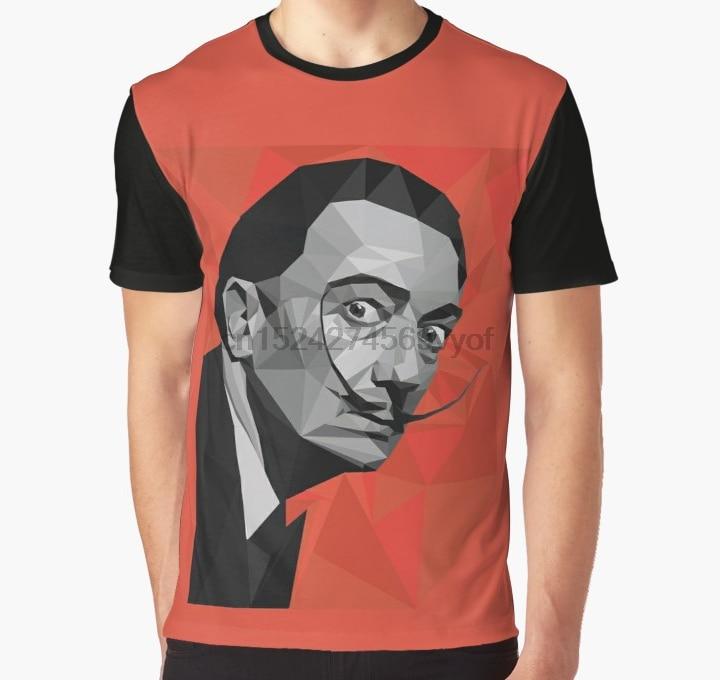 All Over Print Women T Shirt Men Funny tshirt Salvador Dali geometric low-poly portrait Graphic T-Shirt