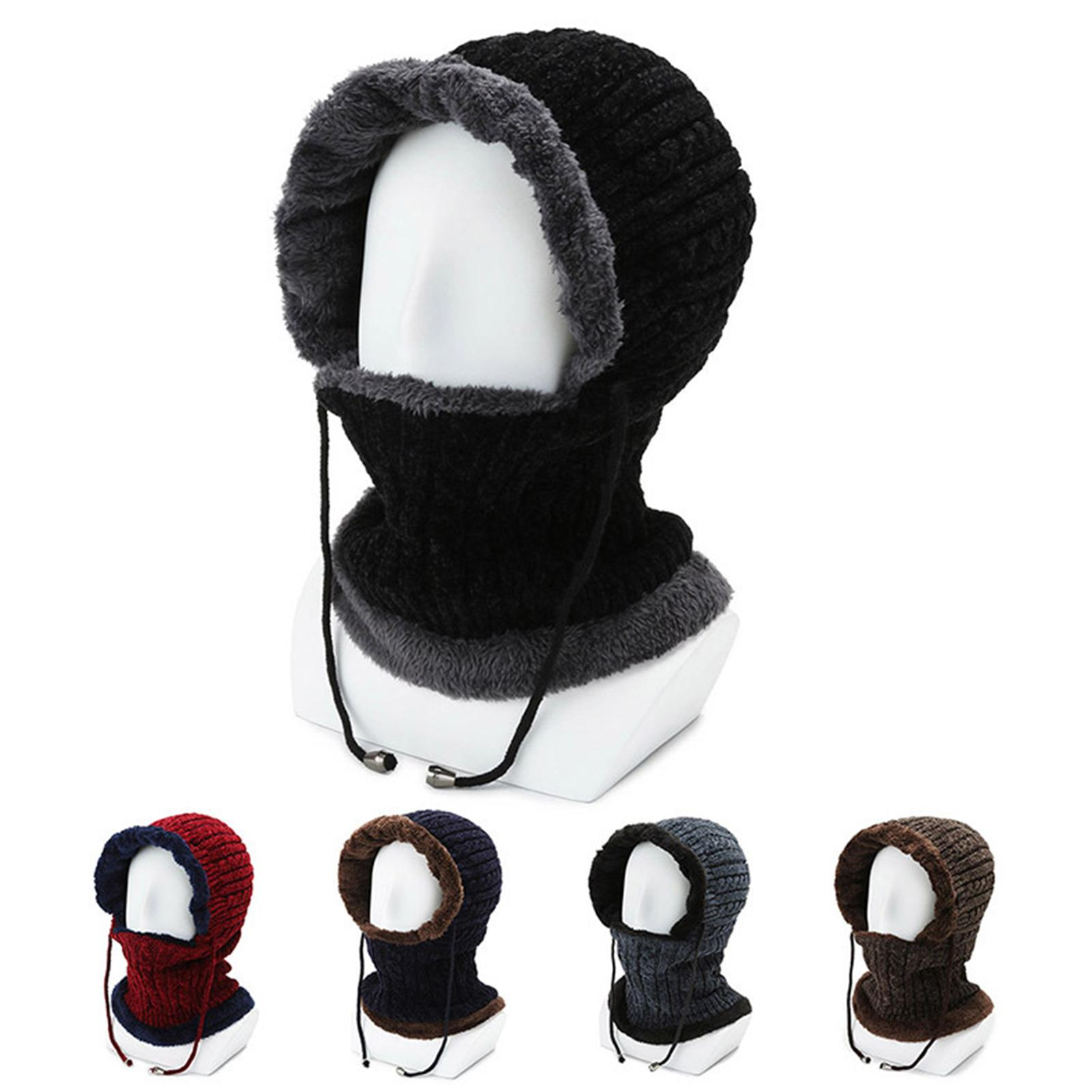 Men Women Winter Warm Collar Knitted Hat Windproof Ear Protection Dual-use Cap Beanie Hat Caps Thick