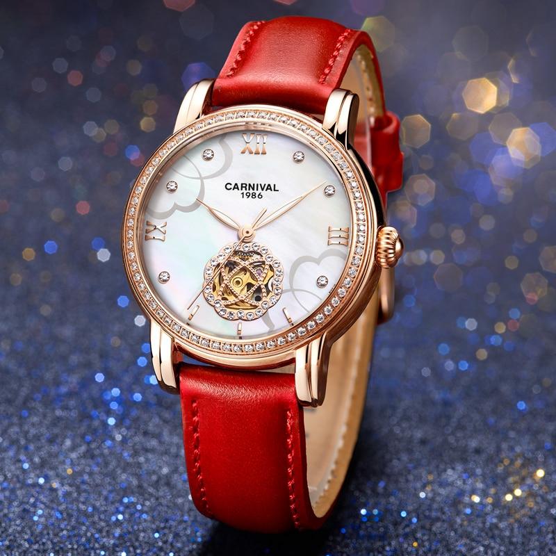 CARNIVAL Brand Ladies Fashion Watch Woman Luxury Waterproof Rose Gold Hollow Mechanical Automatic Wristwatches Relogio Feminino enlarge