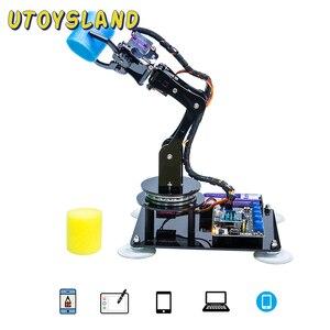 Adeept Arduino Compatible DIY 5-DOF Robotic Arm Kit Stem Robot Arm Kit For Arduino UNO R3 For Children Kid Educational Toys Gift