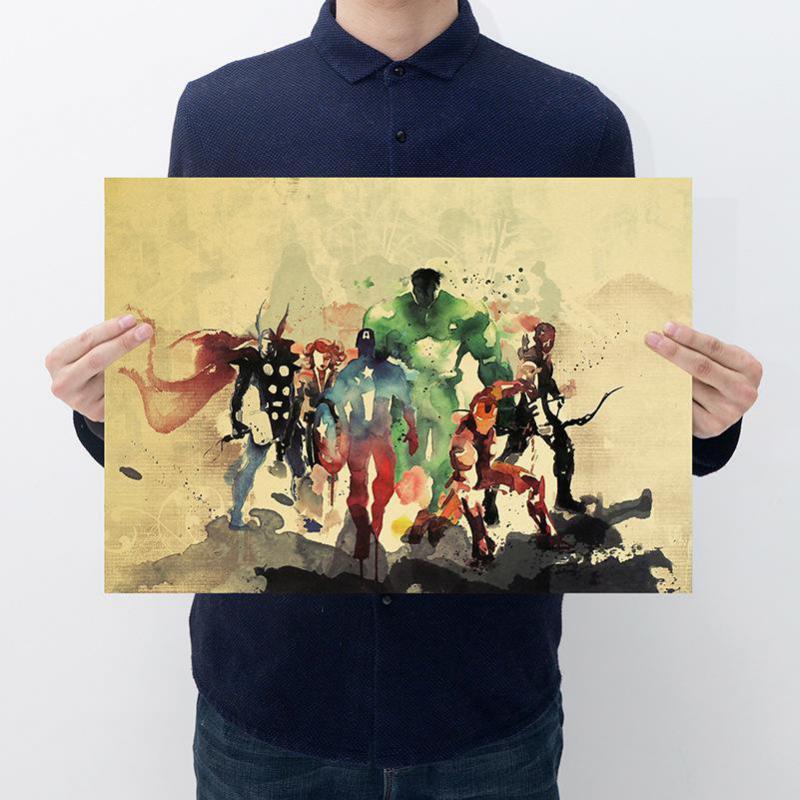 Versión de pintura de héroe, póster de película kraft, póster, decoración de dormitorio, decoración, pintura, arte, adhesivo para muro con imagen