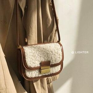 Women's Chain Handbag Leather Composite Bag Female Vintage Black Bag Totes Fluff Shopping Bag 2020 Winter Fur Crossbody Bag Gift