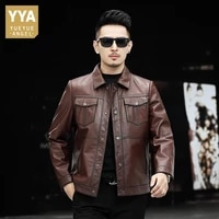 2021 new mens short slim turn down collar biker jacket single breasted fashion solid high street vintage casual outerwear