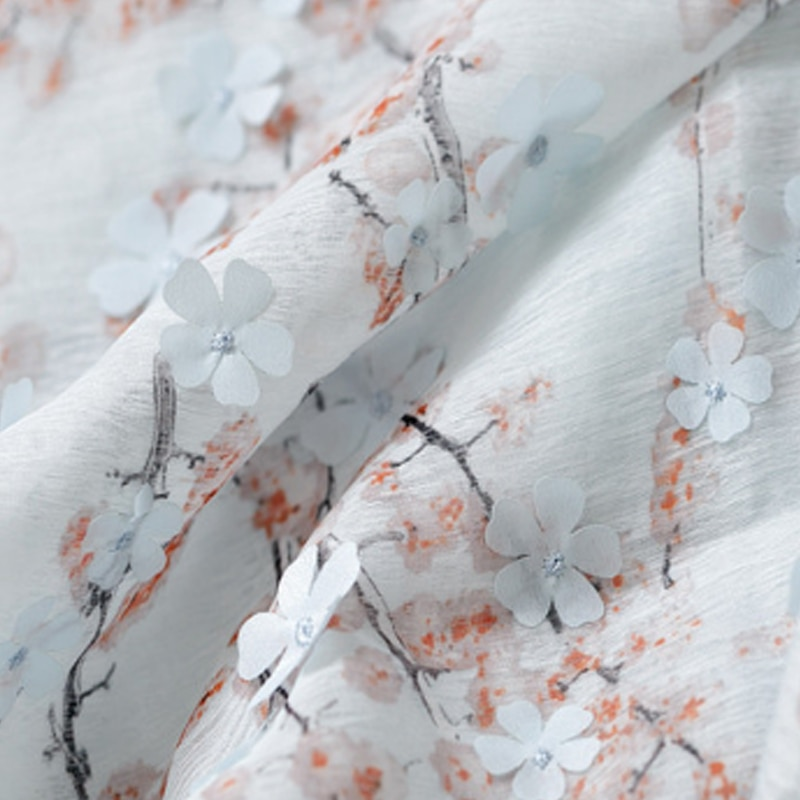 Tissu en Tulle et mousseline rose doux   Brodé 3D prune pour chemise, blanc, bleu, jaune pour la cour