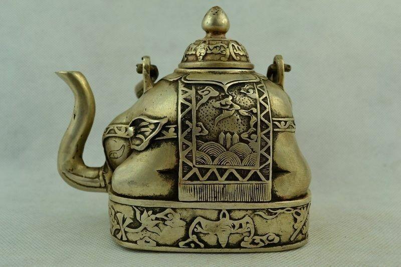 Tetera china, coleccionable, vieja, tallada a mano, Plata tibetana, elefante, flor grande