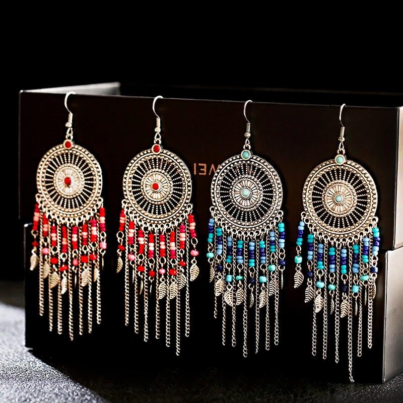 Vintage Ethnic Dream Catch pendientes largos para mujeres Boho joyería señoras cuentas cadena borla Jhumka pendientes encanto boda joyería
