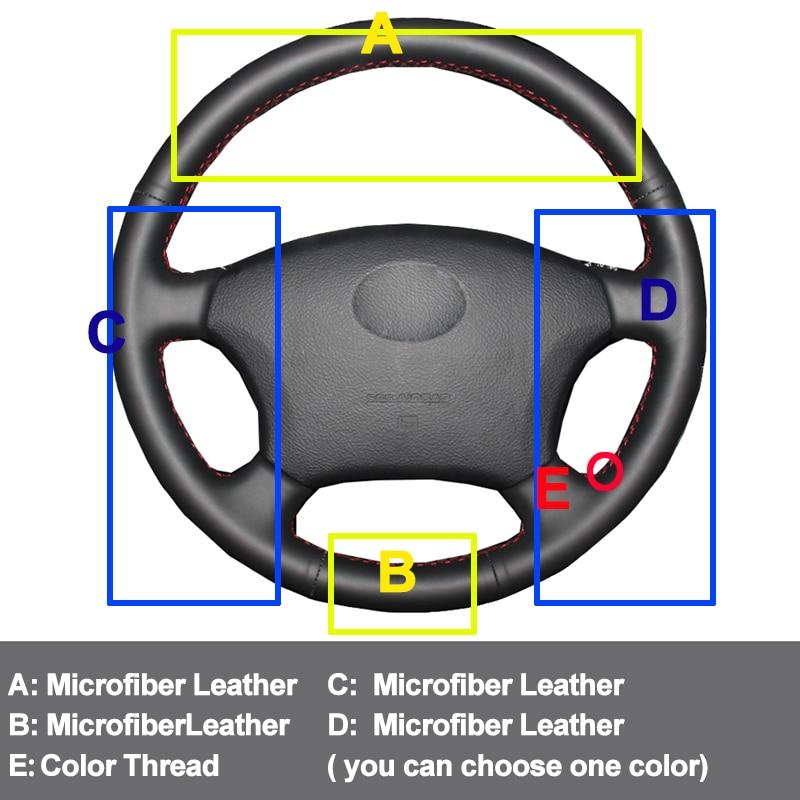 Car Auto Steering-Wheel Cover For Toyota Land Cruiser Prado 120 2004-2009 Land Cruiser 1995-2007 Tacoma Hilux Volant 2005 2006 enlarge