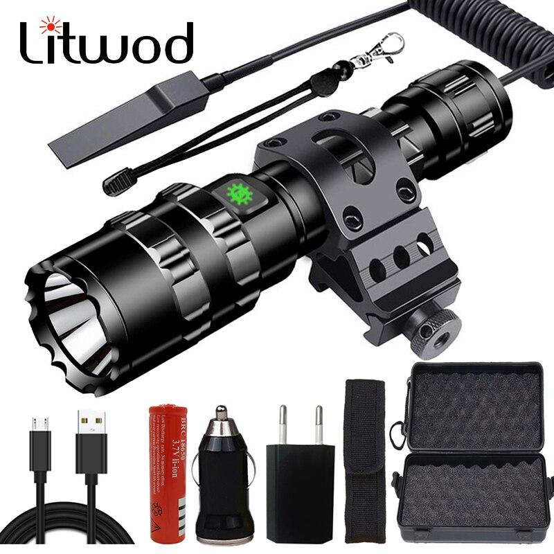 Linterna Led Litwod Z40 recargable vía USB XM-L2 U3, 5000LM, interruptor remoto de aluminio con Zoom, linterna táctica Led para caza