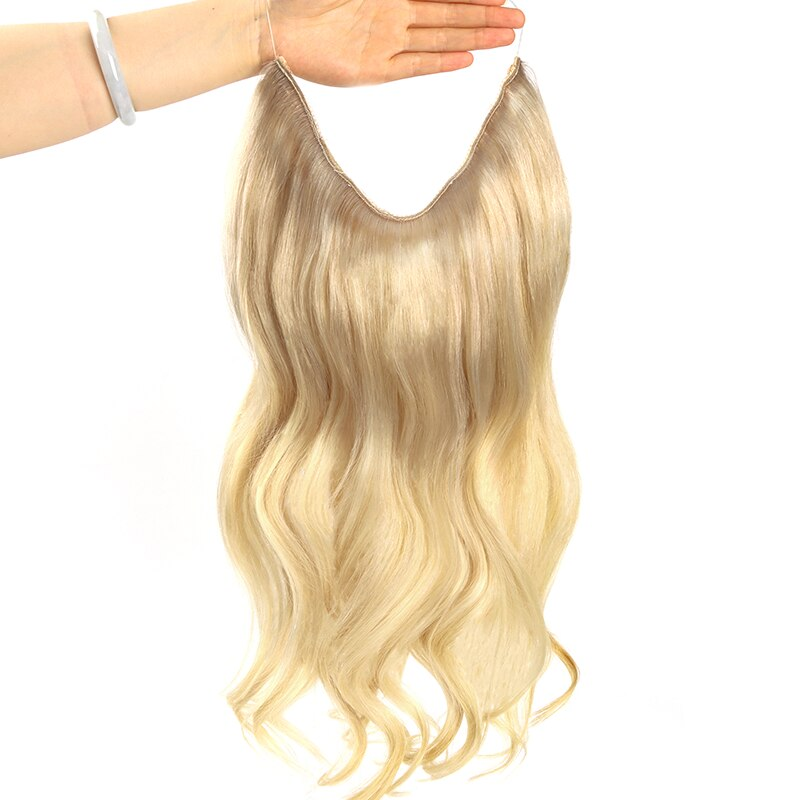 Invisible Halo Hair Extensions Remy Hair Wire Natural Balayage Human Hair Fish Line Remy Hair Fish One Piece with 4 Clips