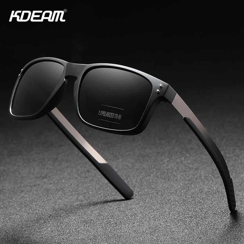 KDEAM Rectangular Polarized Sunglasses Men Outdoor Driving Sun Glasses Man TR90 Flexible Frame Mix Stainless Steel Temple