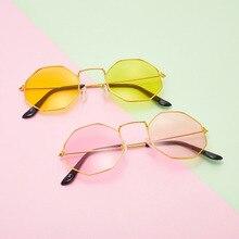 Unisex Retro Polygon Metal Eyewear Vintage Optical Eye Glasses Anti Blue Light Transparent Spectacle