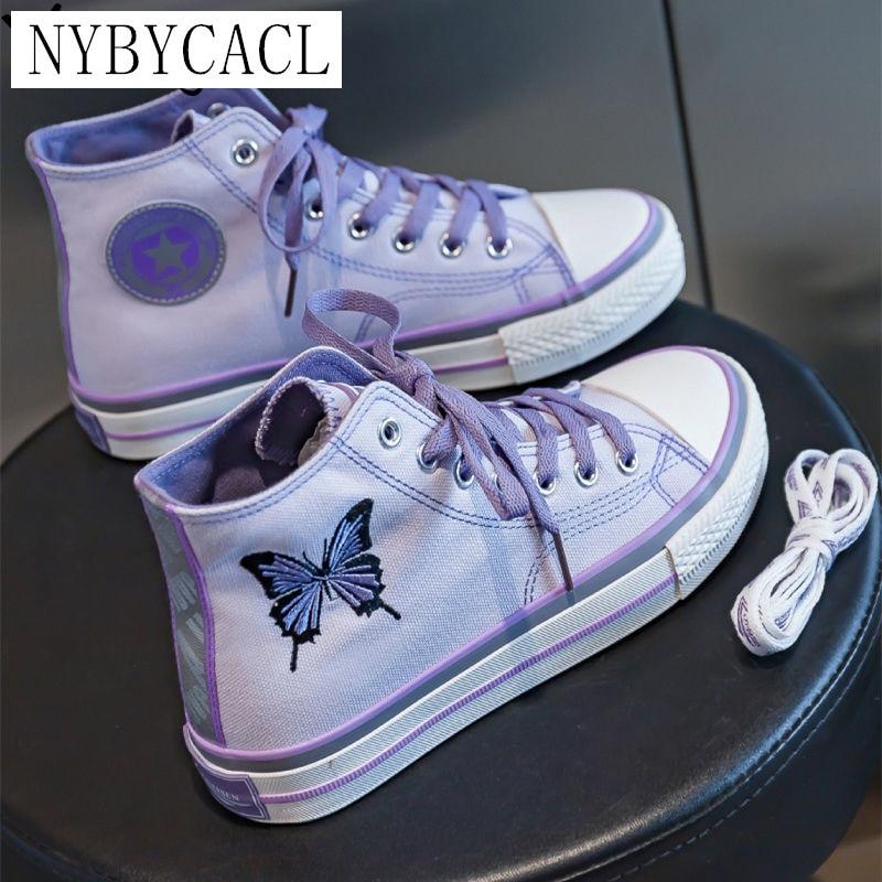 Женские холщовые кроссовки с вышивкой бабочки, эспадрильи в стиле хип-хоп, светоотражающие, на платформе, фиолетовые, черные