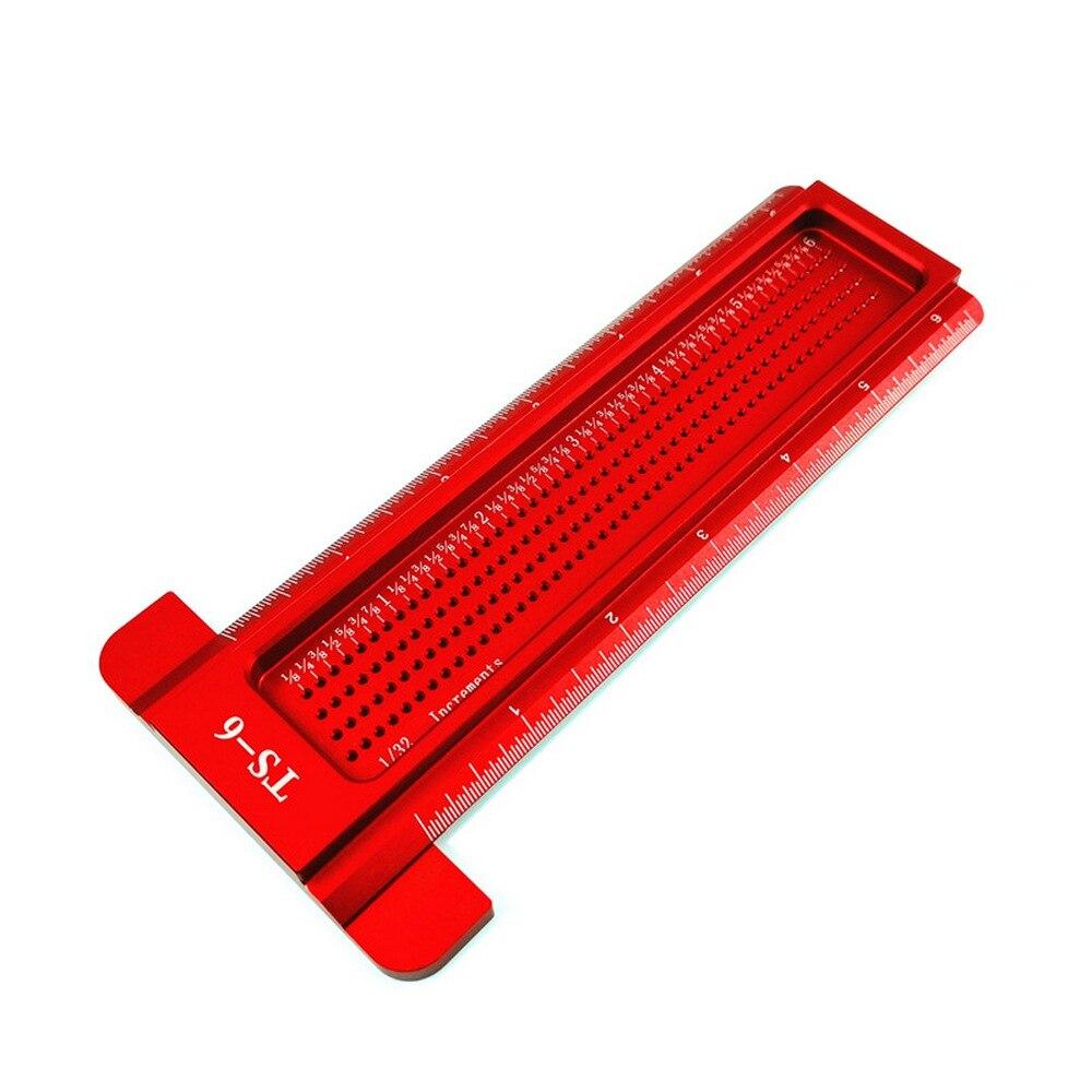 Régua em Forma de t Liga de Alumínio Calibre de Madeira Carpintaria Polegada Buraco Régua Scribe Mini Ts-6