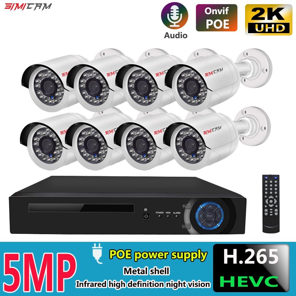 5MP PoE IP نظام الكاميرا الأمن عدة H265 8Ch NVR دعم 4K 8MP الصوت مقاوم للماء المعادن كشف الحركة المراقبة بالفيديو مجموعة