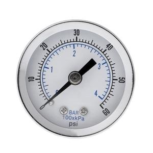 "1/8"" NPT Air Compressor / Hydraulic Pressure Gauge 0-60 PSI Back Mount 1.5"" Face T8NA"