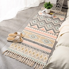 Nordique mode coton lin tapis tissé longs tapis chambre chevet porte tapis bohême ethnique gland tapis salon grands tapis