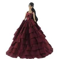 16 bjd clothes elegant wine wedding gown outfits for barbie doll clothes princess party dresses vestidos 30cm dolls accessories