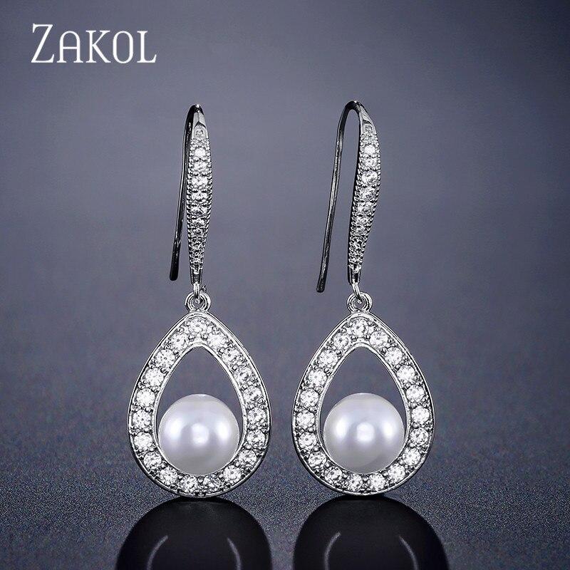 Zakol moda oco zircão cúbico gota & imitação pérola balançar brincos para a dama de honra casamento festa jóias fsep2256